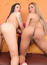 Mariana Pink and Bella are two horny Tgirls fuck each other!