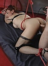 Tied up Jasmine gets sucked and fucked hard