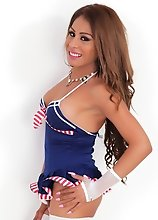 Little Tranny with Big Cock in a sailor uniform showing her meat