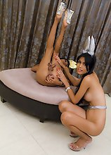 Karn and Palm dressed as bunnies in Ladyboy lesbian sex
