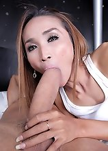 Sexy Asian transsexual Bee rides that huge cock!